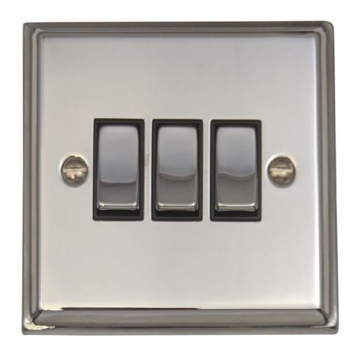 G&H DC303 Deco Plate Polished Chrome 3 Gang 1 or 2 Way Rocker Light Switch